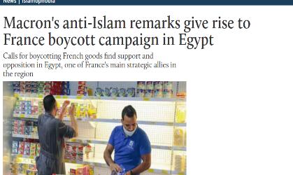"""موقع (ميدل إيست آي) البريطاني : تصريحات """" ماكرون """" المعادية للإسلام أدت إلى حملة مقاطعة للمنتجات الفرنسية في مصر"""