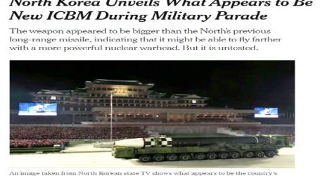 """"""" الحدث الآن """" يقدم ..مقال مترجم لـ (نيويورك تايمز) : كوريا الشمالية تكشف عن صاروخ باليستي عابر للقارات جديد خلال عرض عسكري"""