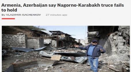 وكالة (أسوشيتد برس) الأمريكية : أرمينيا و أذربيجان يؤكدان أن الهدنة في إقليم ناجورنو قرة باخ لم تتحقق