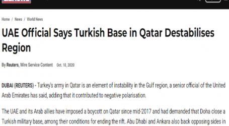 """"""" الحدث الآن """" يقدم ..مقال مترجم لـموقع (يو إس نيوز) الأمريكي :مسئول إماراتي يقول إن الجيش التركي في قطر يزعزع استقرار المنطقة"""