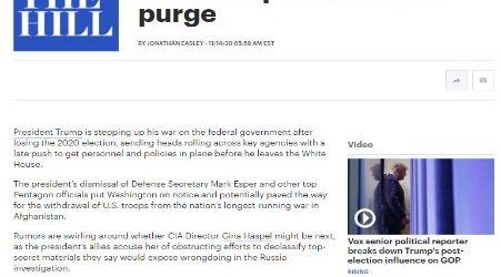 الحدث الان .. مقال مترجم لموقع (ذا هيل) الأمريكي بعنوان ( حملات تطهير يقوم بها ترامب قبل رحيله من البيت الأبيض )