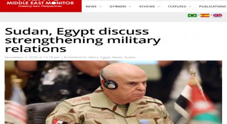 ميدل إيست مونيتور: السودان ومصر تبحثان تعزيز العلاقات العسكرية