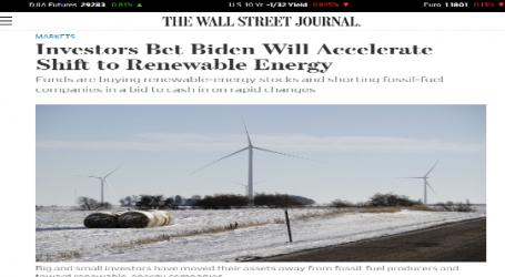 """وول ستريت جورنال : المستثمرون يراهنون على أن """"بايدن"""" سيسرع التحول إلى الطاقة المتجددة"""