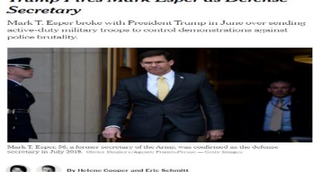 """نيويورك تايمز : """"ترامب"""" يقيل """"مارك إسبر"""" من منصب وزير الدفاع"""