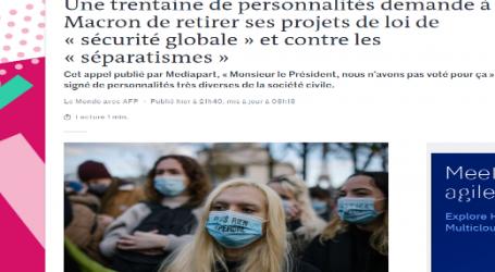 لوموند :شخصيات عامة تطالب الرئيس الفرنسي بالتراجع عن مشروع قانون الأمن الشامل
