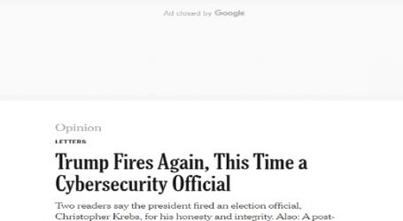 صحيفة (نيويورك تايمز) الأمريكية : ترامب يقيل مسئولين مرة أخرى.. هذه المرة مدير وكالة الأمن السيبراني