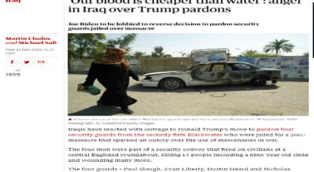 """الجارديان : دماؤنا أرخص من الماء، غضب في العراق بسبب العفو الذي أصدره """"ترامب"""""""