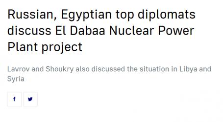 تاس : وزيرا خارجية مصر وروسيا ناقشا مشروع محطة الضبعة للطاقة النووية