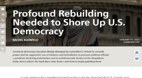 كارنيجي : الحاجة إلى إعادة البناء من أجل دعم ديمقراطية الولايات المتحدة