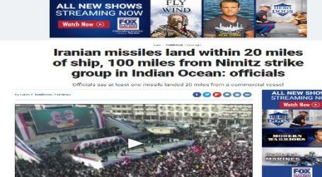 موقع قناة (فوكس نيوز) الأمريكية : مسئولون أمريكيون: سقوط صواريخ إيرانية على بُعد (20) ميلاً من سفينة تجارية و(100) ميل من حاملة الطائرات الأمريكية نيميتز في المحيط الهندي