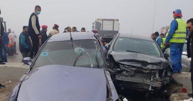 إصابة شقيقين فى حادث انقلاب سيارة ملاكى على صحراوى بنى سويف
