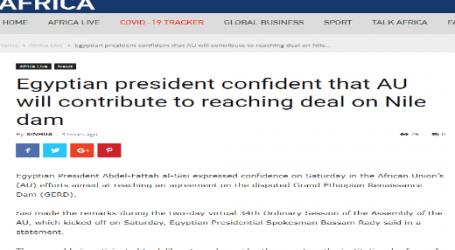 """موقع قناة (سي جي تي إن) الصينية : الرئيس """"السيسي"""" يعرب عن ثقته في أن الاتحاد الأفريقي سيساهم في التوصل لاتفاق بشأن سد النهضة"""
