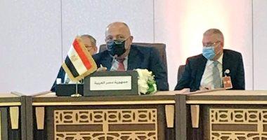 وزير الخارجية سامح شكرى خلال مشاركته فى الاجتماع