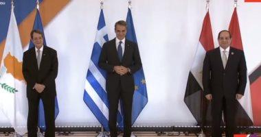 الرئيس السيسى مع رئيس قبرص ورئيس وزراء اليونان