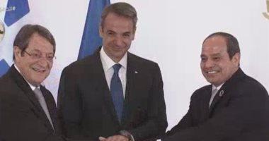 الرئيس عبد الفتاح السيسى مع زعيمى قبرص واليونان